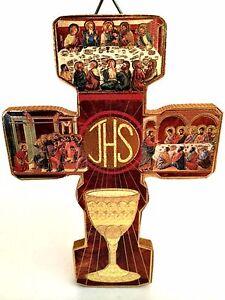 Vintage Italian First Communion Cross JHS Catholic Religion 5 x 3 3/8 inches