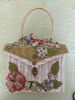 1950s Handbags, Purses, and Evening Bag Styles PRETTY VINTAGE MIDAS OF MIAMI WICKER ~ VELVET AND FLORAL DECORATED PURSE $77.47 AT vintagedancer.com