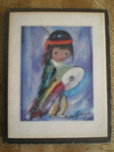 "Laminated DeGrazia Print Drumming Boy EUC Wooden, Mini 3 x 2.5"""