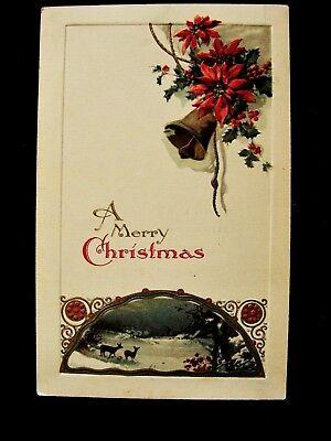 Winsch Deer On Peaceful Night Bell w Holly & Poinsettias Christmas Emb Postcard