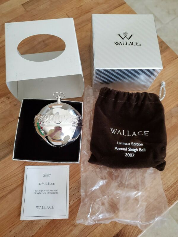 Wallace 2007 Silver Plated Sleigh Christmas Bell Ornament New in Original Box