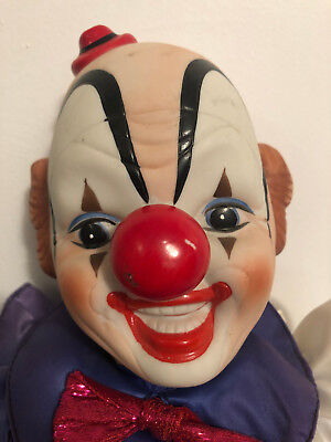 Vtg 80's Enesco Porcelain Scary Sitting Clown Doll Bowtie Wind-Up Musical - Scary Clown Dolls