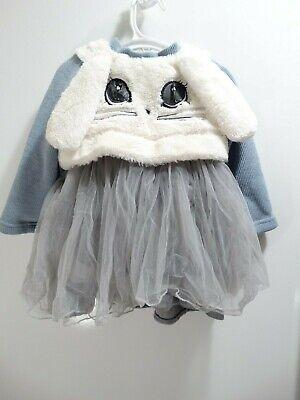 Tulle Little Girl Dresses (FLEECE LITTLE GIRL TODDLER BUNNY DRESS WITH TULLE TUTU SIZE 3T GREY)