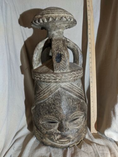 Very Heavy Helmet Mask — Excellent Carved Details — Authentic African Wood Art