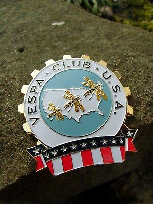 Rare - VESPA Club U.S.A. - Badge USA Scooter United States of America