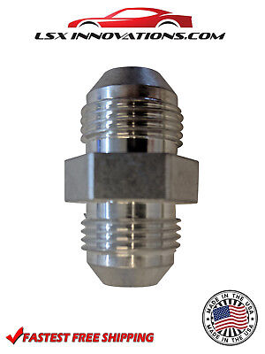 -6 AN Male Flare To -6 AN Male Flare Union Coupler Bare Aluminum Made in USA