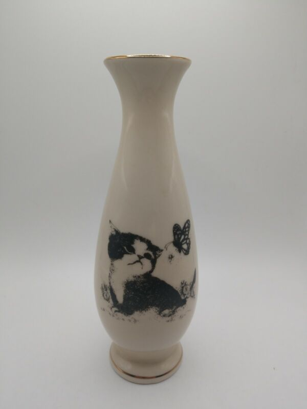 """6"""" Small World Greetings Kitten Cat with Butterfly Bud Vase with Gold Trim"""