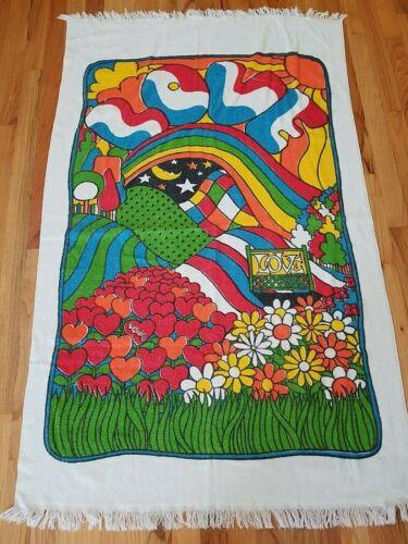 Vintage Cannon All Cotton LOVE Groovy Towel Beach Bath 33x52 Fringe Bright Color