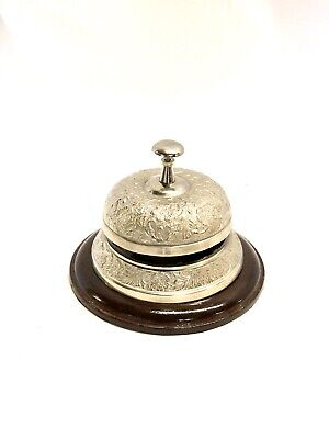 Reception Bell ~ Desk Bell ~ Last Order Bell With Wooden Base Nickel