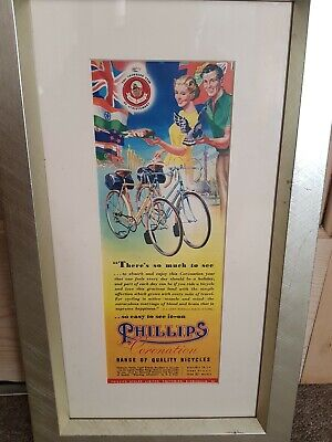 phillips cycles bicycles bike advert in mounted in frame cycle vintage