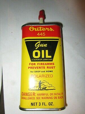 Vintage 1960s OUTERS 445 GUN OIL Advertising Tin! Oval Oil Can for Firearms!