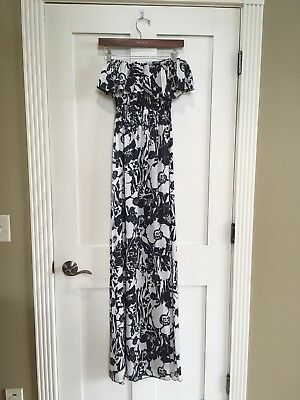 Nwt Alexis Strapless Floral Maxi Dress Ruffle Size Small Black White