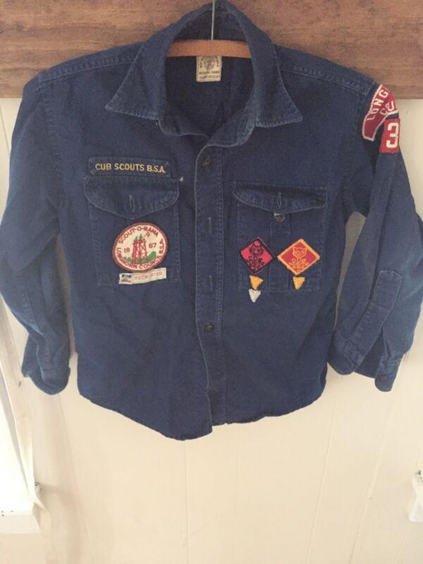 Vintage 1960s/60s BSA Cub Scouts Uniform Shirt, Badges Longhorn Council Texas TX