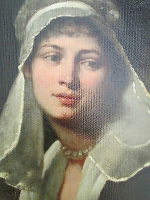 Antique  Painting THE  LADY  IN  WHITE  PORTRAITS  PRE 1800  UNSIGNED