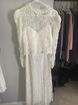 Vintage Wedding Dress. Lace, Tea Length, Two Pieces, Strapped Dress, Lace Cover