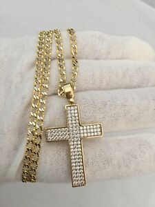 10K Gold Curb Chain + 10K Gold cross CZ
