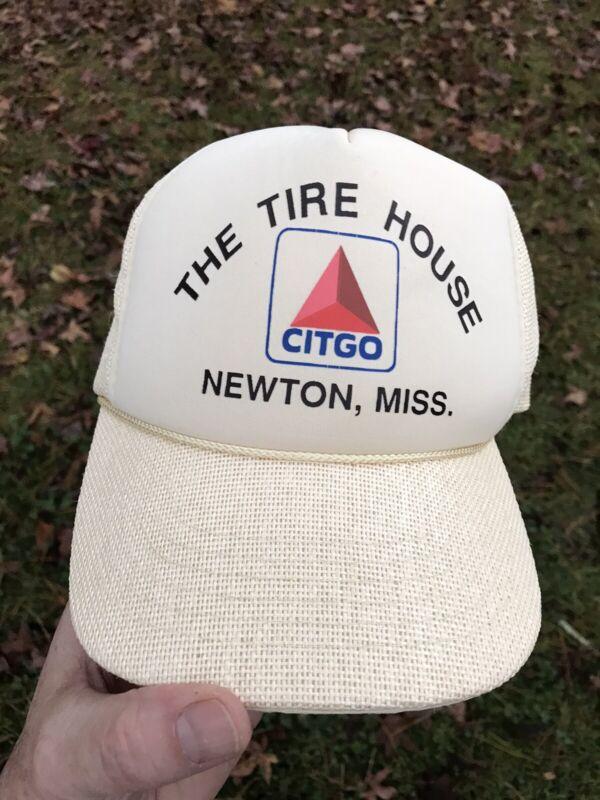 VINTAGE CITGO GAS TIRE HOUSE NEWTON MISS. UNWORN SNAPBACK MESH TRUCKERS HAT CAP