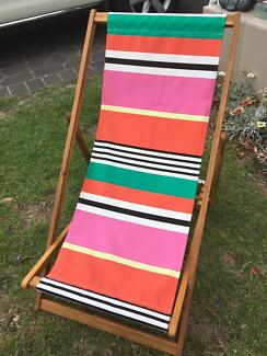 Wooden Striped Deck Chairs x 12