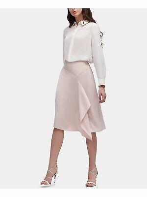 DKNY $79 Womens New 0215 Pink Ruffled Pencil Skirt 14 B+B