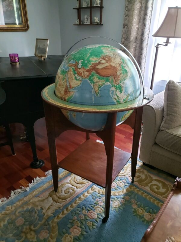 "1965 Denoyer Geppert 24"" Floor Globe School Library Classroom  - Wood Base"