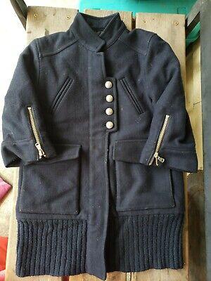 LIU-JO JUNIOR GIRLS KIDS SZ 8Y NAVY Blue Heavy Pea WOOL blend 3/4 sleeve Coat