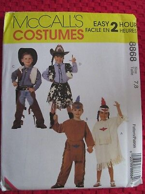 McCALL 8868 BOYS' GIRLS' COSTUMES COWBOYS COWGIRLS EASY 2 HOUR PATTERN SZ 7,8 UC - Easy Girls Costumes