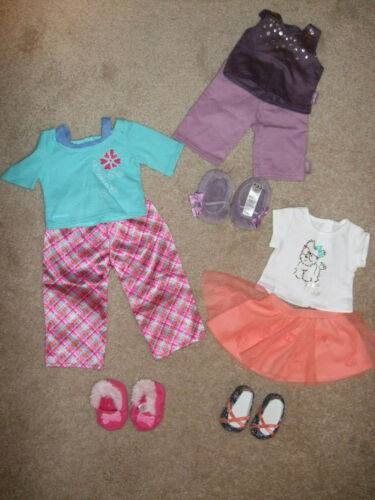 American Girl Dresses, Pajamas, and Cheerleading Outfit (7 Outfits)
