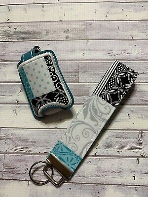 Turquoise And Black  Wristlet key chain and hand sanitizer case FREE shipping