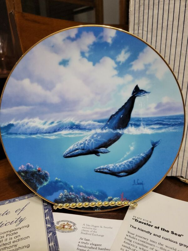 """Decorative Plate """"Traveler Of The Sea""""  1991 By Anthony Casay Gray Whale"""