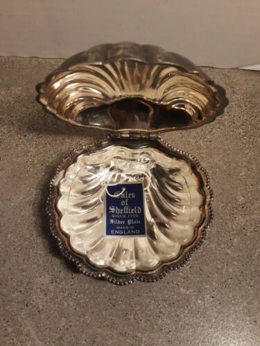 Vintage Sheffield Silver Plated Seashell Butter Dish With Glass Insert England
