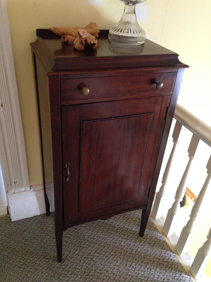 antique maple cabinet picked record vintage