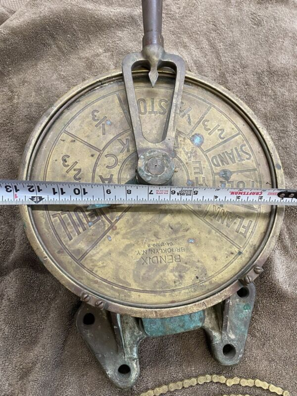 """Bendix 12"""" solid brass ships engine order Telegraph from wrecked ship"""