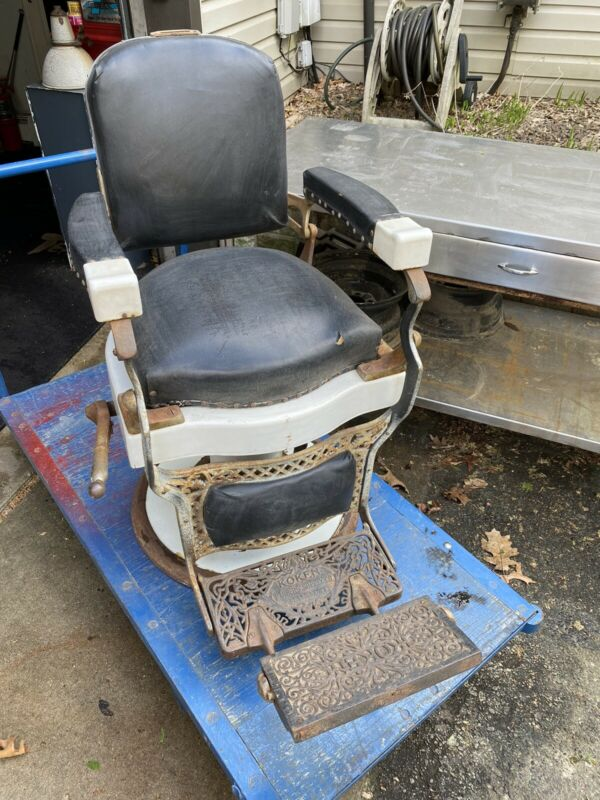 Antique Vintage Koken Barber Chair Working Hydraulic Kochs Lift