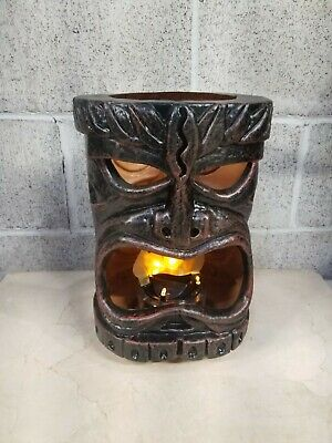 RARE! Plastic Flaming Tiki Head Bar Lamp Light, LED Shipping Included