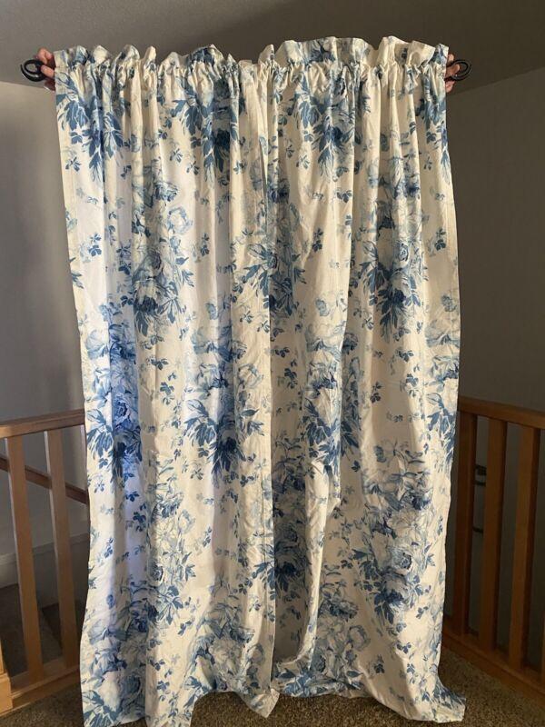Ralph Lauren Elsa Blue & White FLORAL Curtains Cotton Sateen Lined