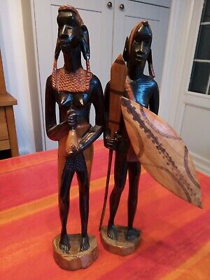 Vintage Pair Of Stunning African Wooden Hand Carved Figures Tribal Art