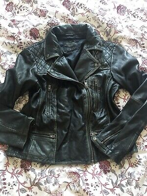 All Saints Cargo Leather Biker Jacket UK 14 Black Grey Moto