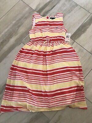 NEW Nautica Girls Sleeveless Striped Dress - Size 10 - Red / Yellow / White