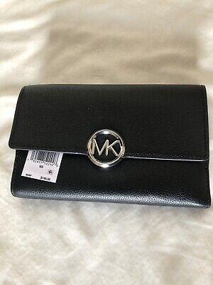 Michael Kors Logo Lillie Large Pebble Leather Carry All Wallet-Black (Michael Kors All Black)