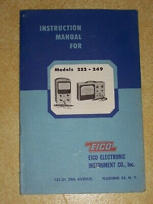Original 1954 Eico 232 - 249 Peak To Peak Vtvm Manual- Plus Eico Probe Manual