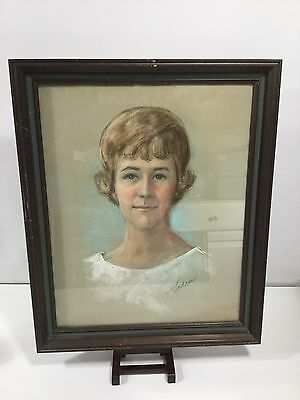 Vintage Mid Century Pastel Drawing Art Framed Portrait Young Woman Girl Signed