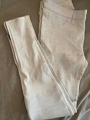 J Brand Super Soft Stretch100% Lamb Leather Legging Pants Size 24 Offwhite Color