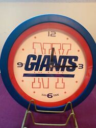 Sun Time New York Giants Clock  Round 11 inch Diameter Used in Good Shape