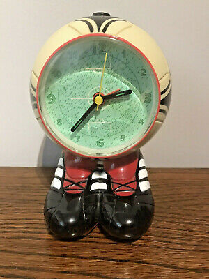 VINTAGE FOOTBALL OLE OLE OLE NOVELTY ALARM CLOCK, PITCH/BOOTS FULL WORKING ORDER
