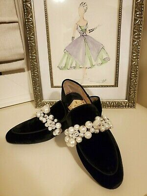 Brand new in box Louis Leeman Women loafer with pearls, size 37, black