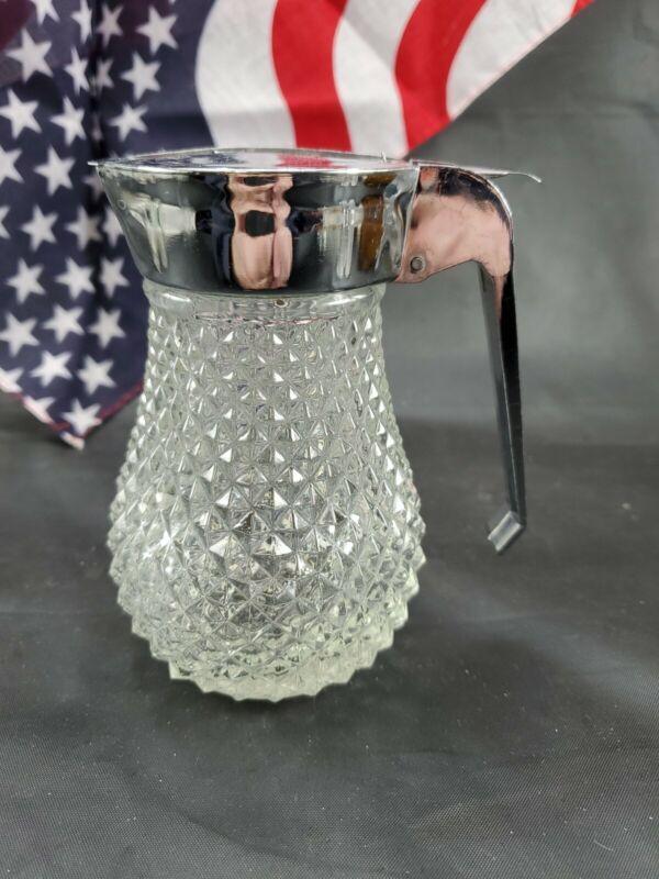 "VTG Grace Clear Glass Diamond Pattern Syrup Dispenser Restaurant 5"" Tall"