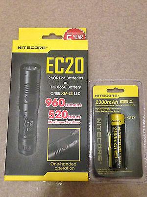 NEW NITECORE EC20 960 LUMENS EXPLORER LED FLASHLIGHT w/2300mAh battery