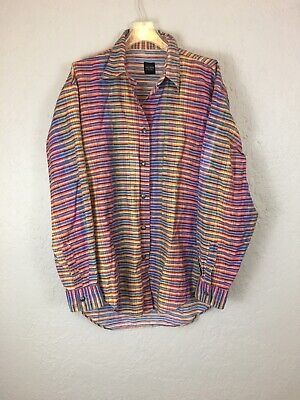 Acorn Bob Goldfeder Stripe Native American Button Down Shirt Italy Cotton Med