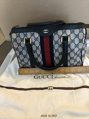 Vintage Navy Blue Classic Logo Gucci Doctors Bag Purse Speedy With Cover Bag