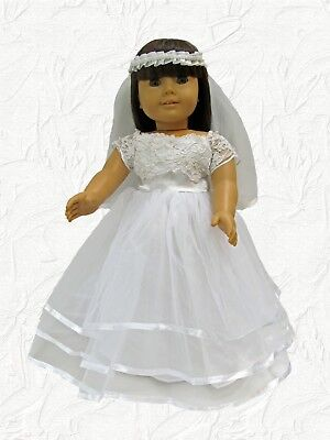 Modern First Communion Dresses (Doll Clothes Fit American Girl Dress First Communion/Wedding Corded Lace)
